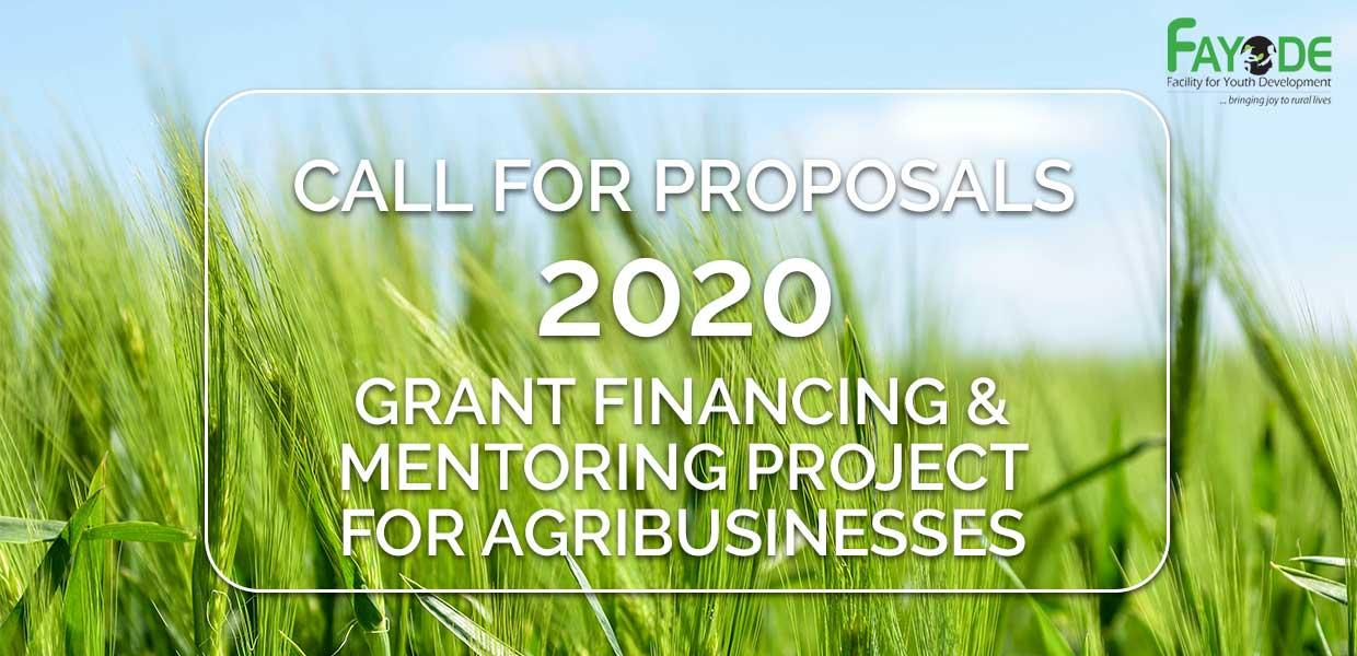 CALL FOR PROPOSALS- 2020 Project - Grant Financing and Mentoring for Agribusinesses